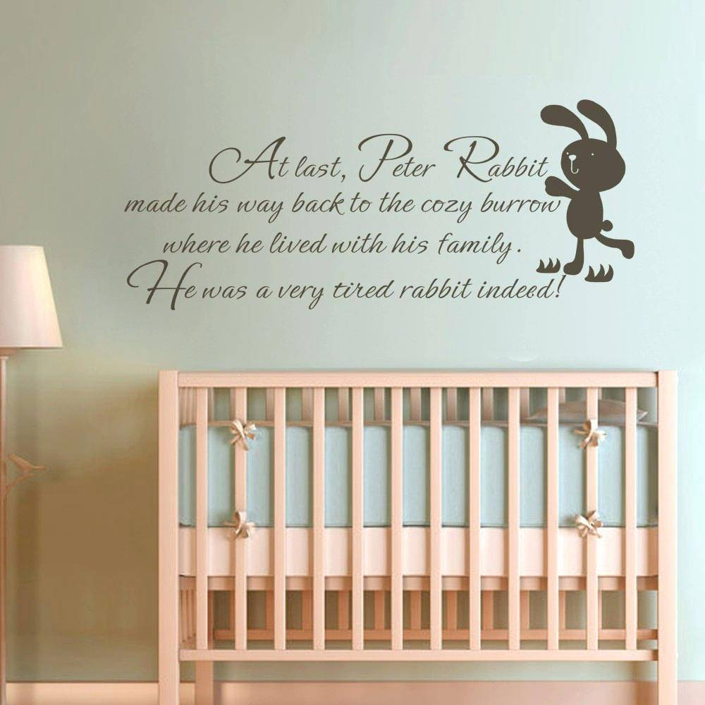 Baby Wall Art Decals Buy Children Wall Quote Peter Rabbit Baby In Best And Newest Baby Wall Art (View 14 of 30)