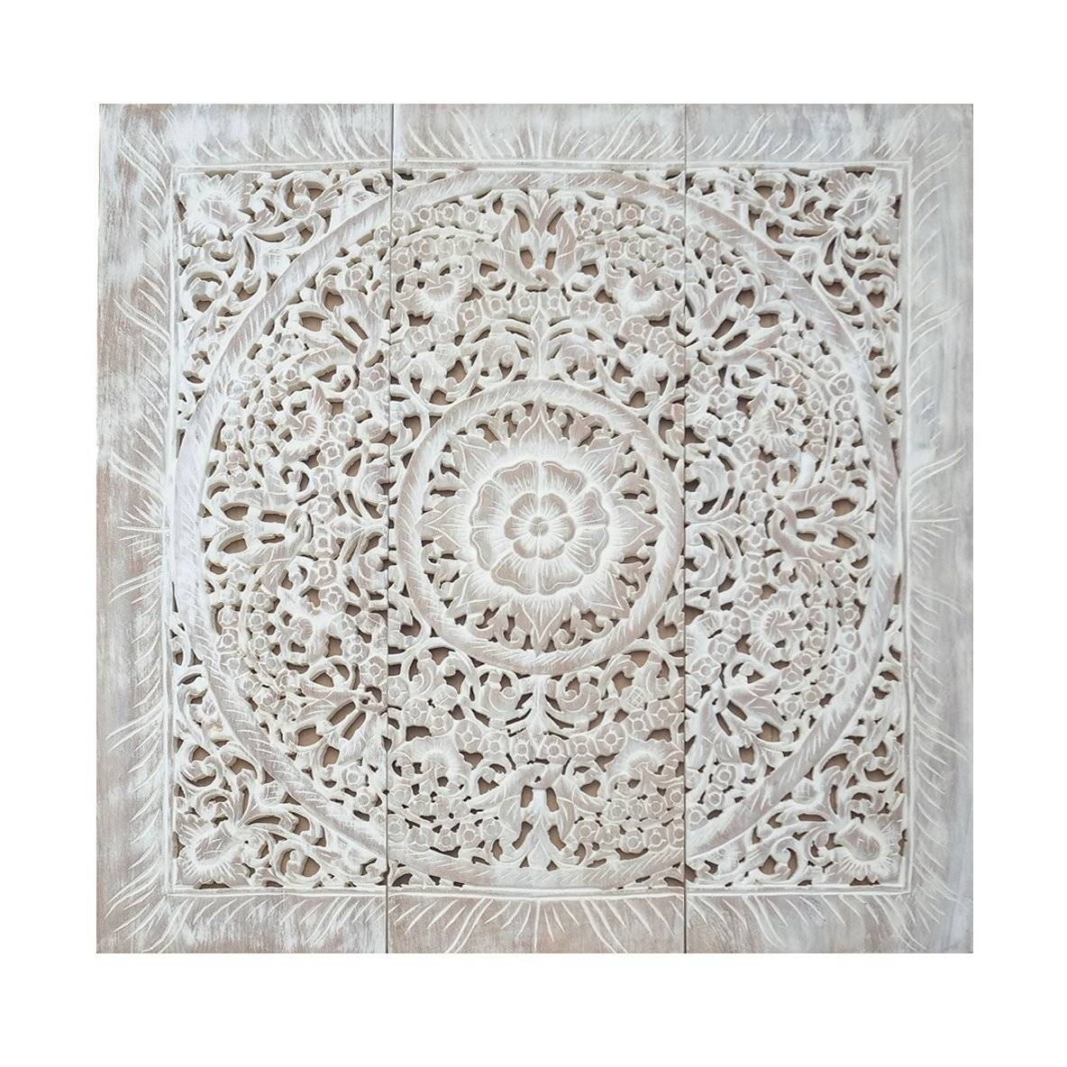 Balinese Antique Wood Carving Wall Art Panel – Siam Sawadee For 2018 White Wooden Wall Art (View 2 of 20)