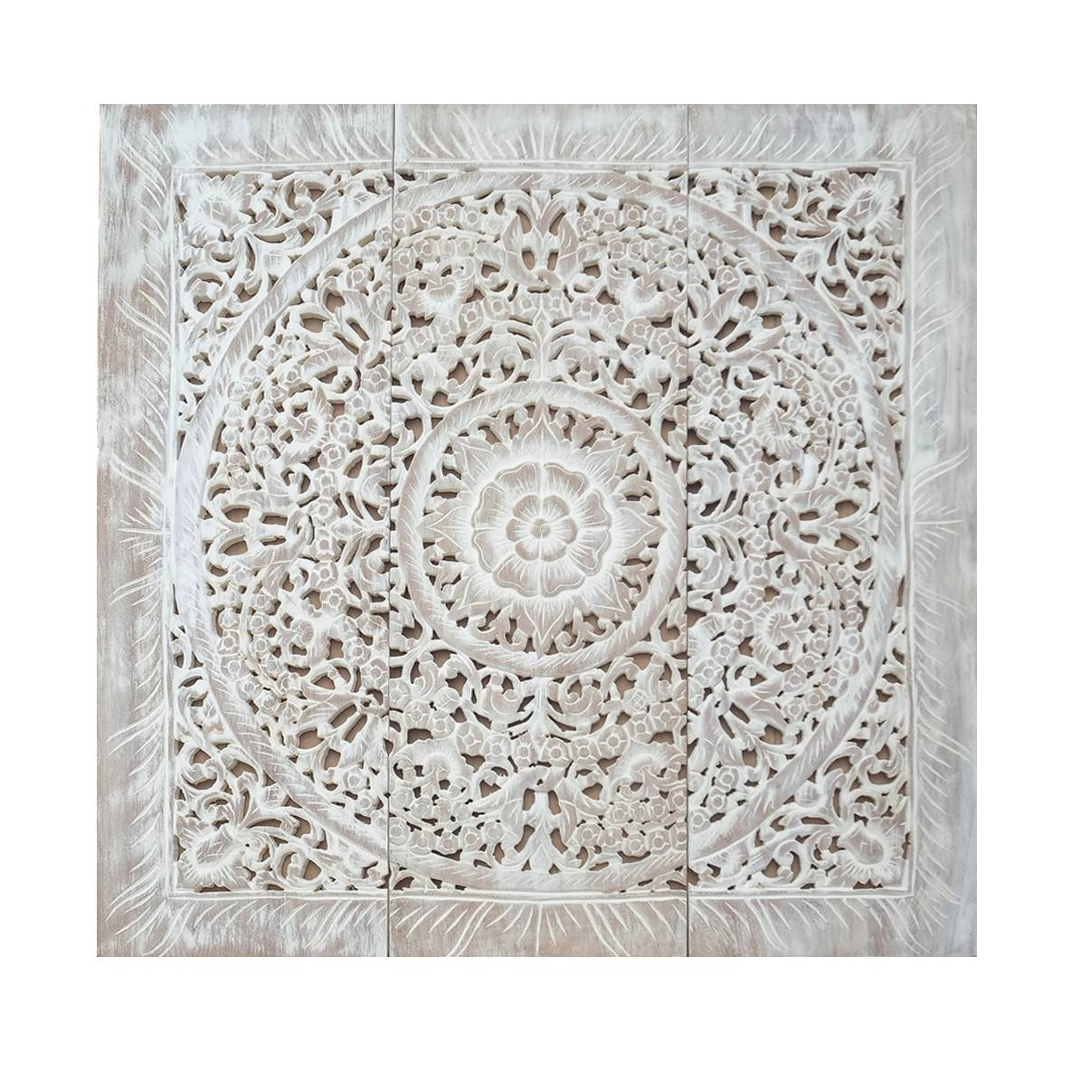 Balinese Antique Wood Carving Wall Art Panel – Siam Sawadee Inside Most Recently Released Wood Carved Wall Art Panels (View 1 of 25)