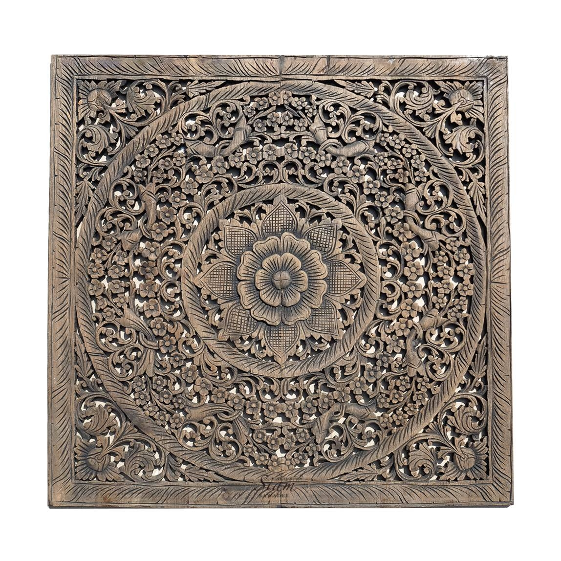 Balinese Antique Wood Carving Wall Art Panel – Siam Sawadee Intended For Current Wood Wall Art Panels (View 3 of 20)