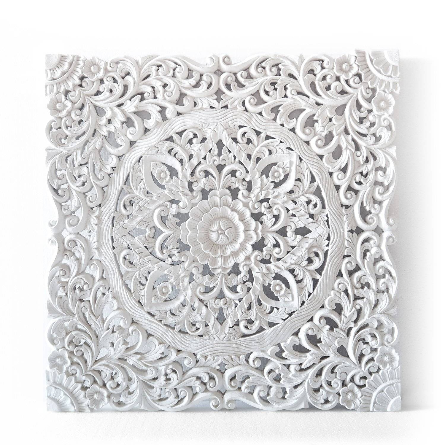 Balinese Authentic Wall Hanging Panel – Siam Sawadee Inside 2018 White Wooden Wall Art (View 1 of 20)