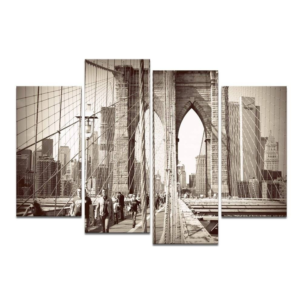 Bammu Canvas Wall Art 4 Panels Famous Architecture Painting Wall Regarding Current New York Skyline Canvas Black And White Wall Art (View 17 of 20)