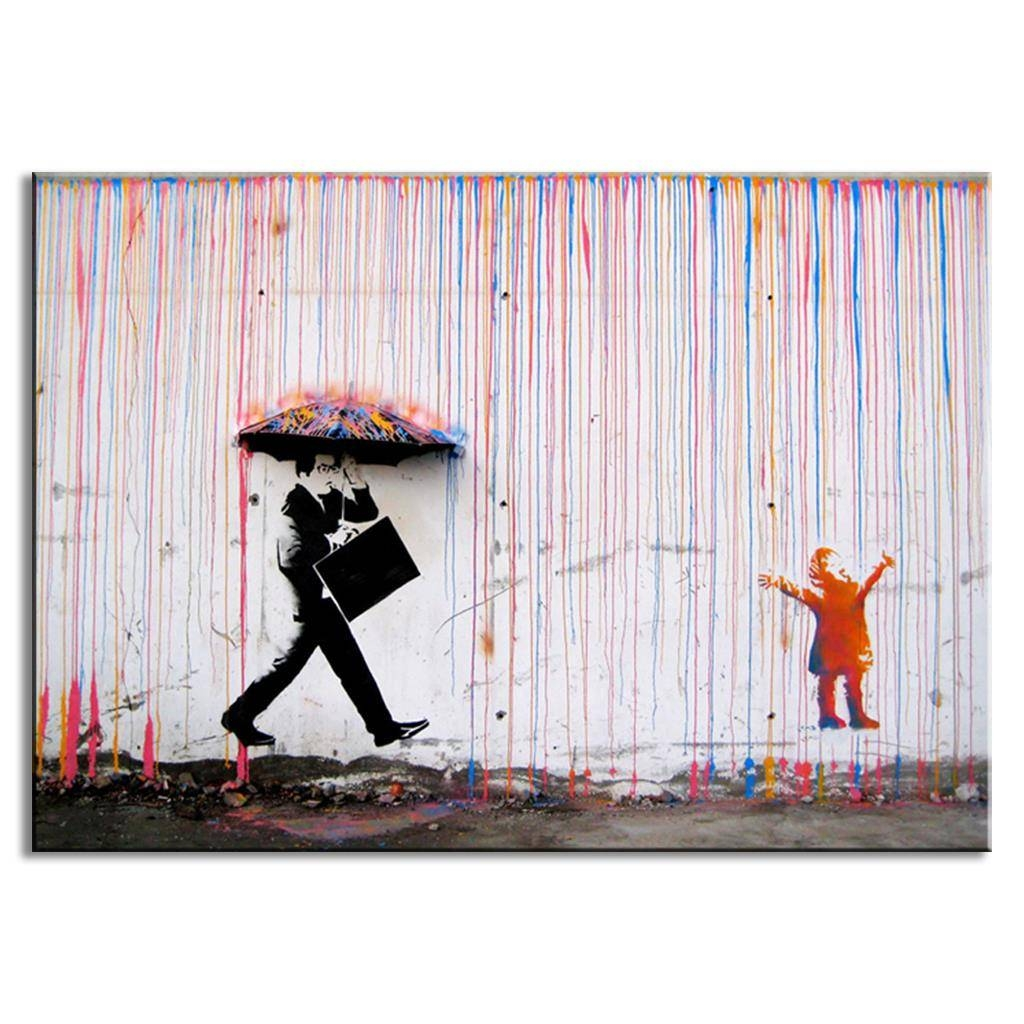 Banksy Art Colorful Rain Wall Canvas Wall Art Living Room Wall In Latest Banksy Canvas Wall Art (View 2 of 20)
