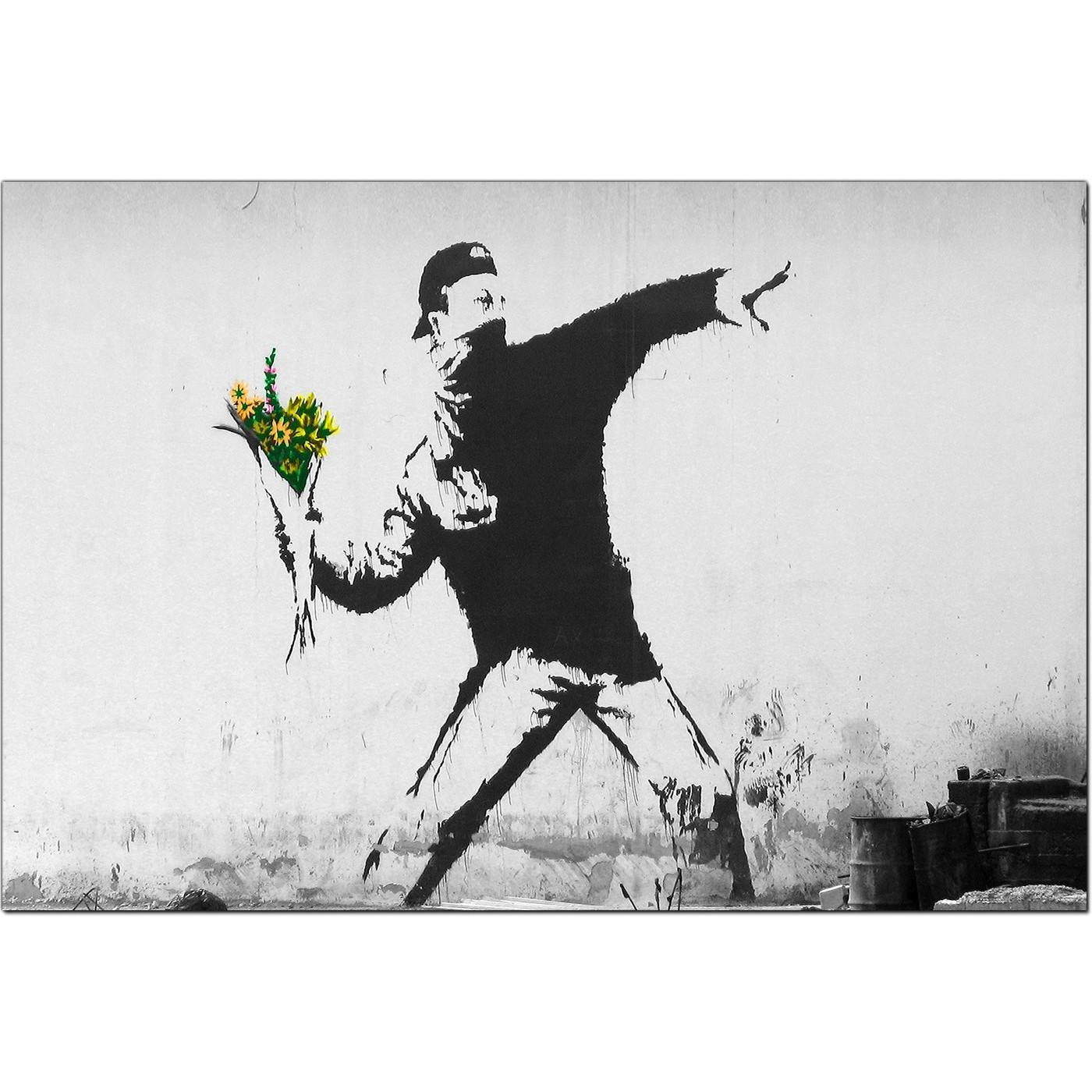 Banksy Canvas Prints – Flower Thrower Intended For Current Banksy Canvas Wall Art (View 3 of 20)