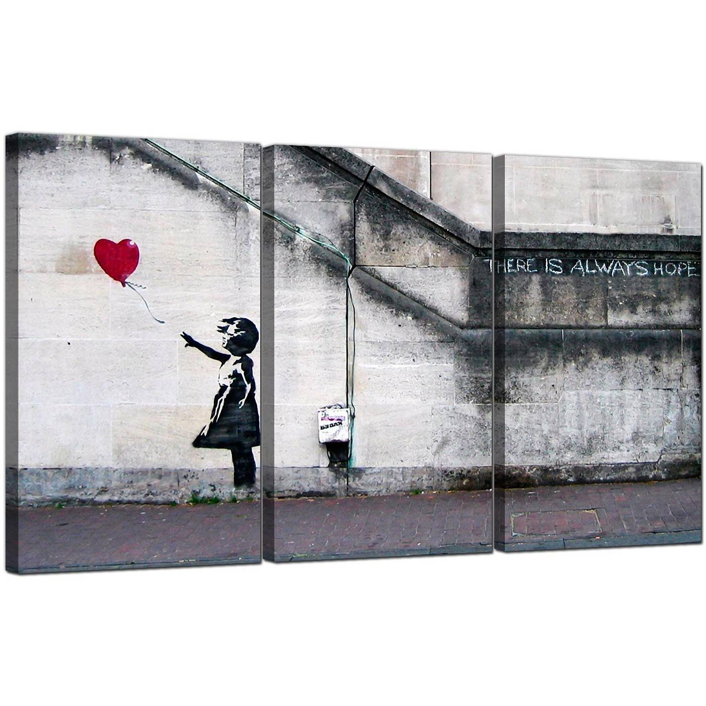 Banksy Canvas Prints – Girl With A Red Balloon Throughout Best And Newest Banksy Canvas Wall Art (View 10 of 20)