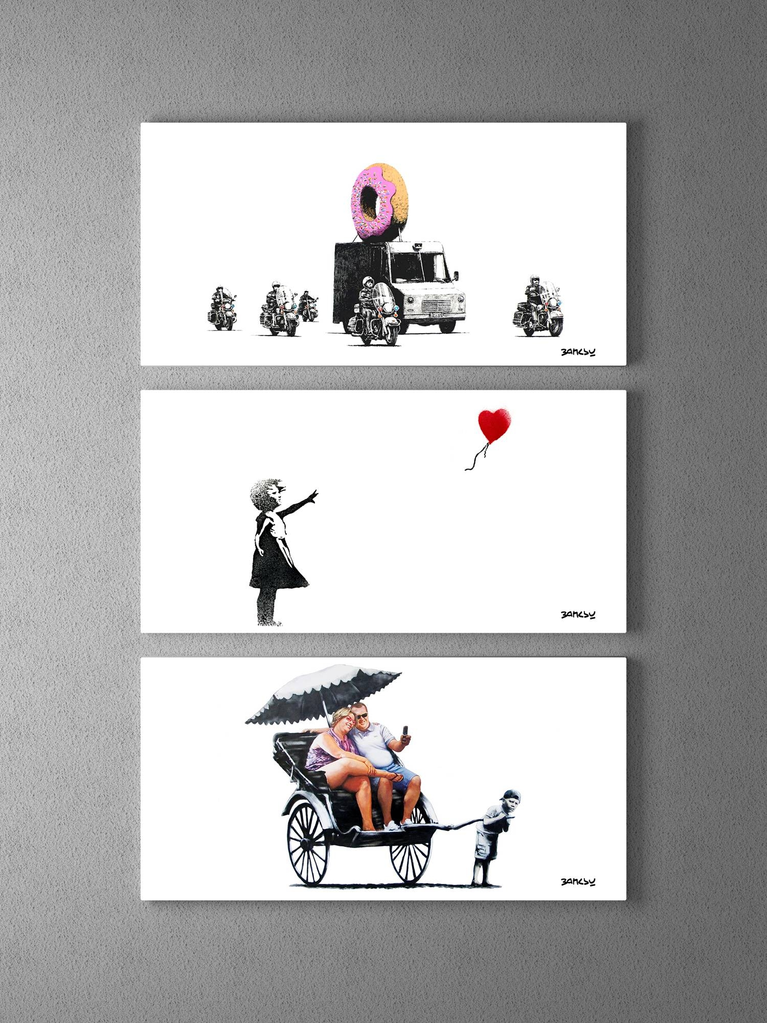 Banksy Donut Police, Girl With Balloon, Rickshaw Collage Triptych Inside Best And Newest Banksy Wall Art Canvas (View 6 of 20)