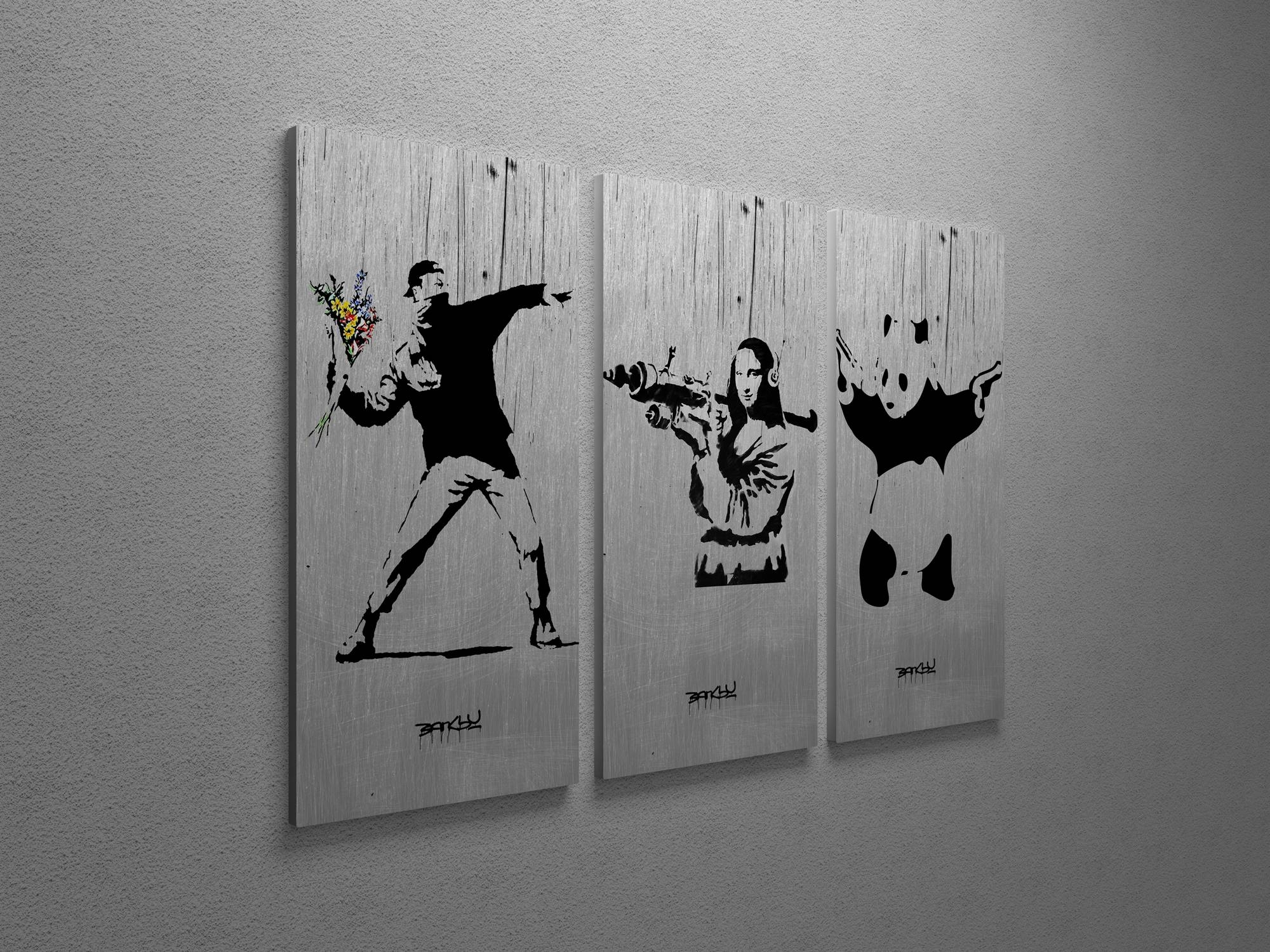 Banksy Flower Thrower, Mona Lisa, Panda Collage Triptych Canvas With Best And Newest Banksy Wall Art Canvas (View 7 of 20)