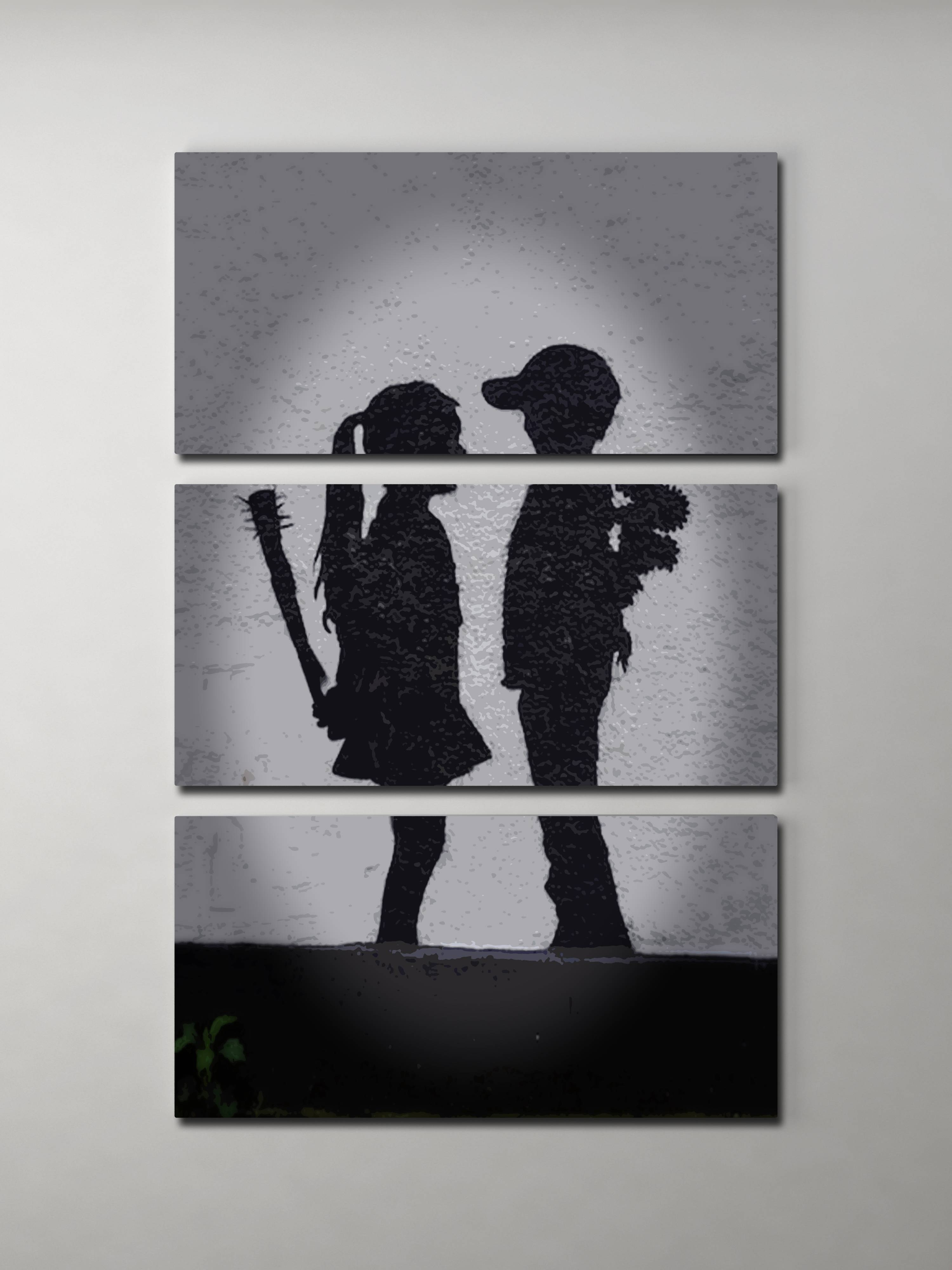 Banksy Girl Meets Boy Triptych Canvas Wall Art Pertaining To Latest Girls Canvas Wall Art (View 11 of 20)