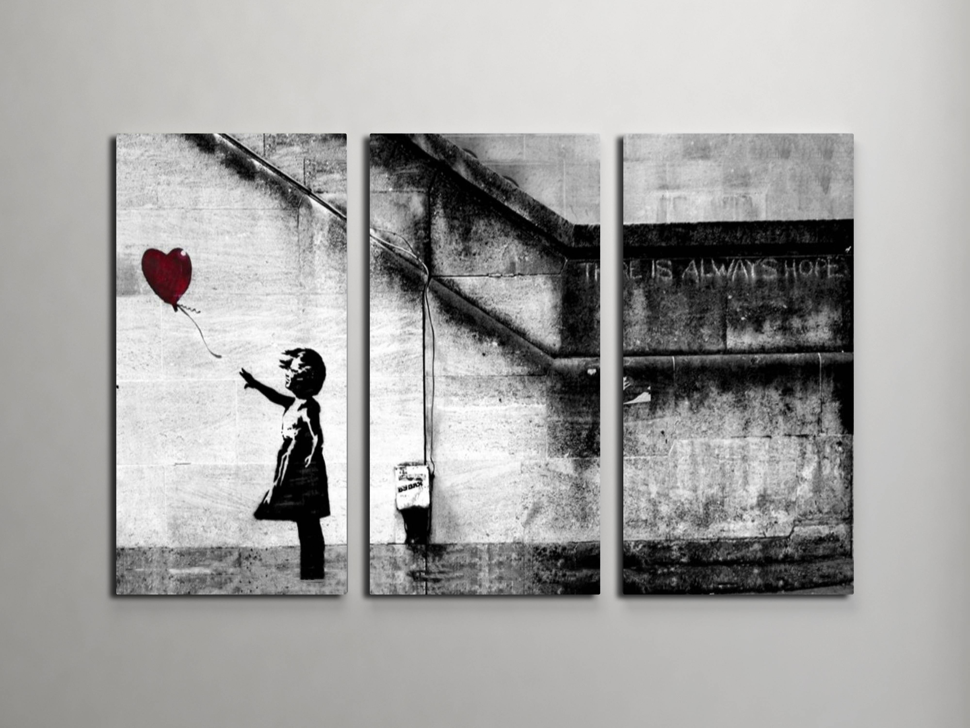 Banksy Girl With Balloon Triptych Canvas Wall Art For Most Current Banksy Wall Art Canvas (View 17 of 20)