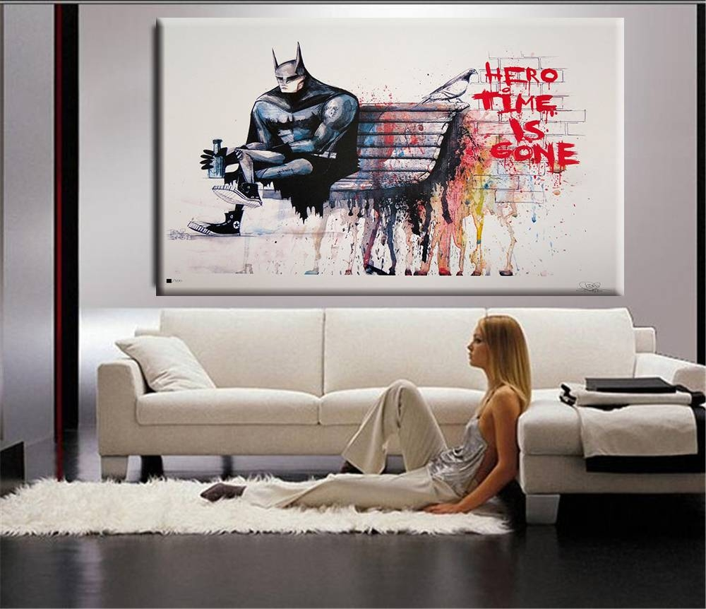Banksy Hero Time Is Gone Canvas Art Print Home Huge Canvas Within Most Recently Released Huge Wall Art (View 17 of 20)