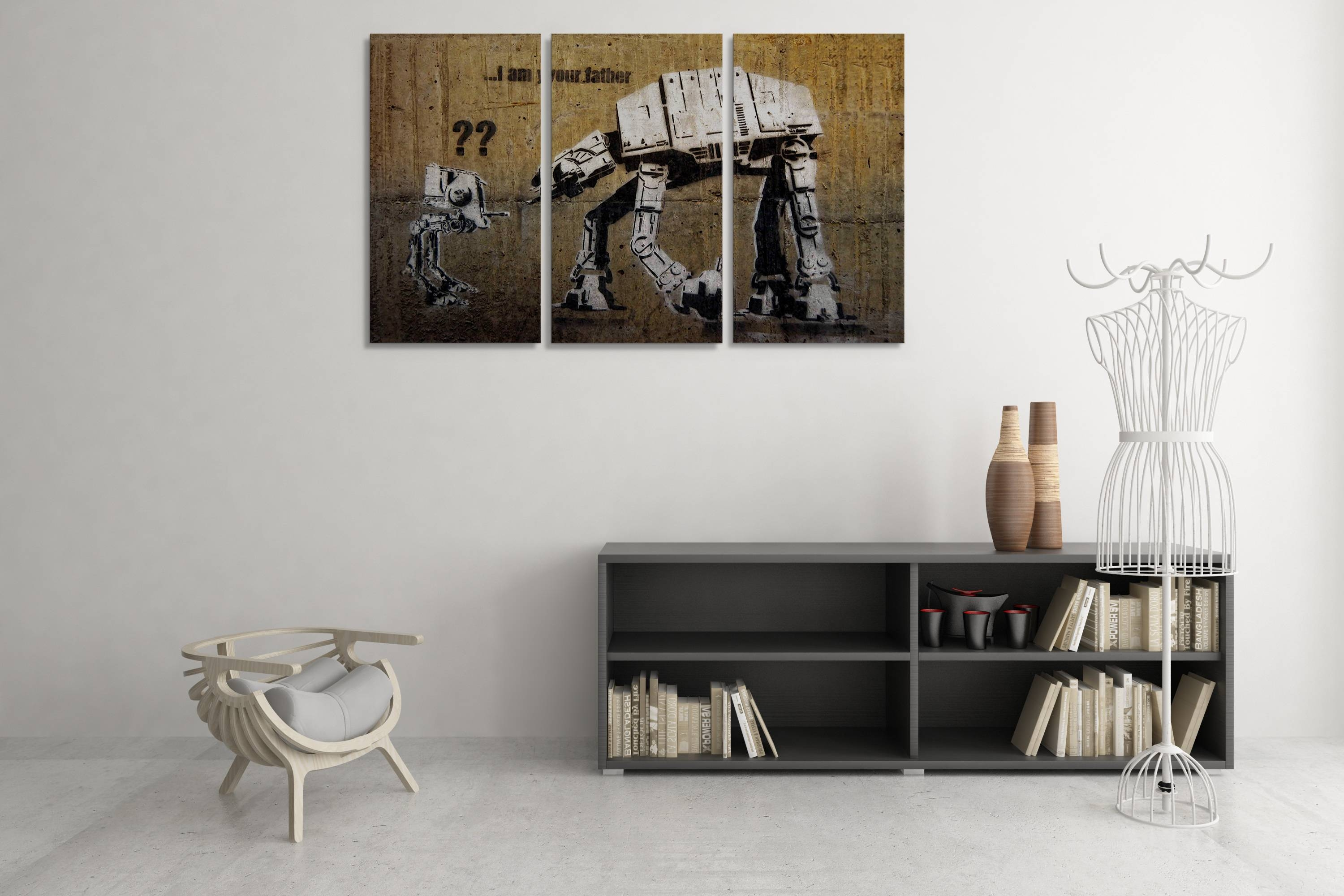 Banksy I Am Your Father (Star Wars) Triptych Canvas Wall Art Inside Most Popular Photography Wall Art (View 3 of 25)