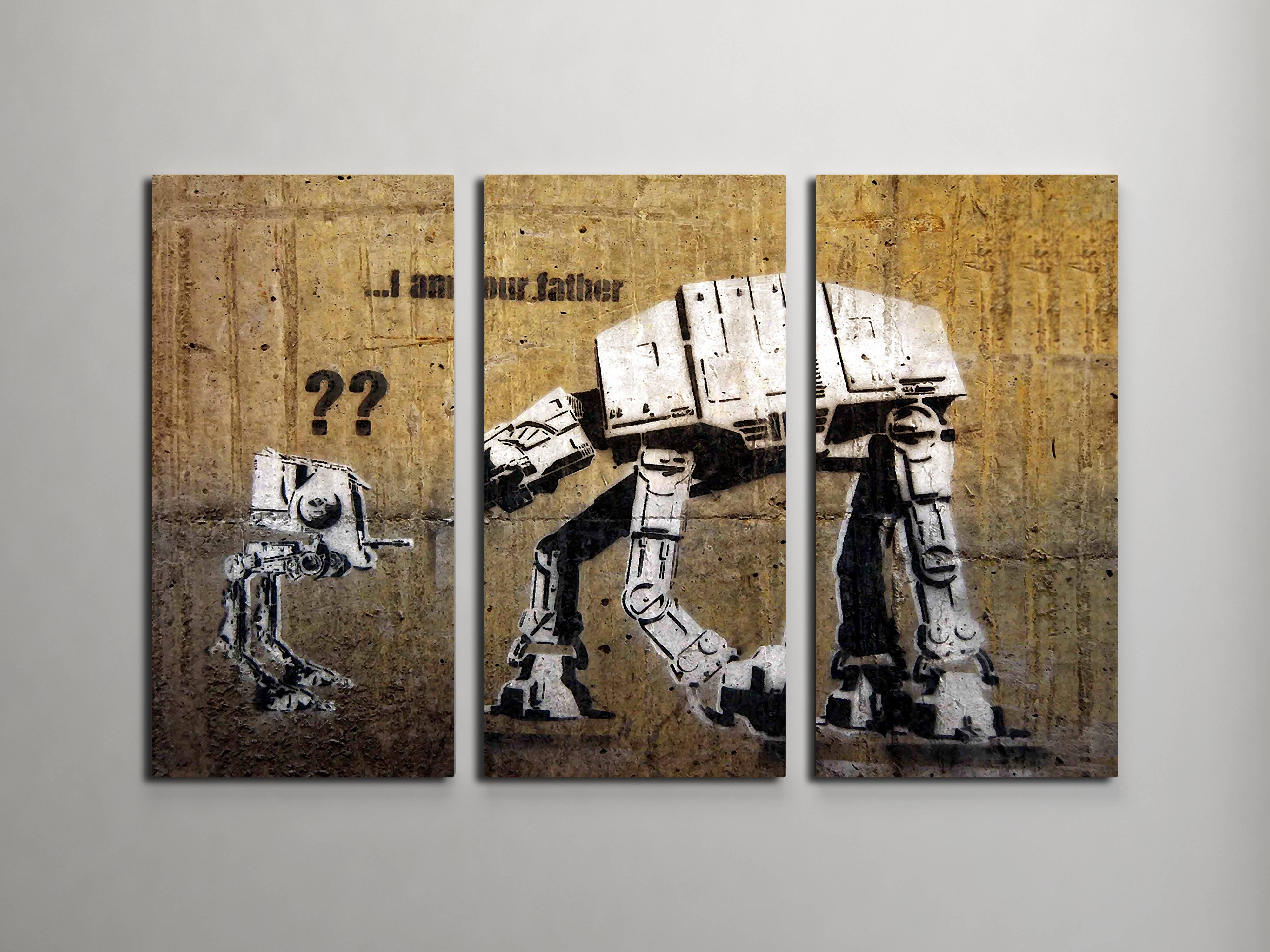 Banksy I Am Your Father (star Wars) Triptych Canvas Wall Art Throughout Most Current Triptych Art For Sale (View 7 of 20)