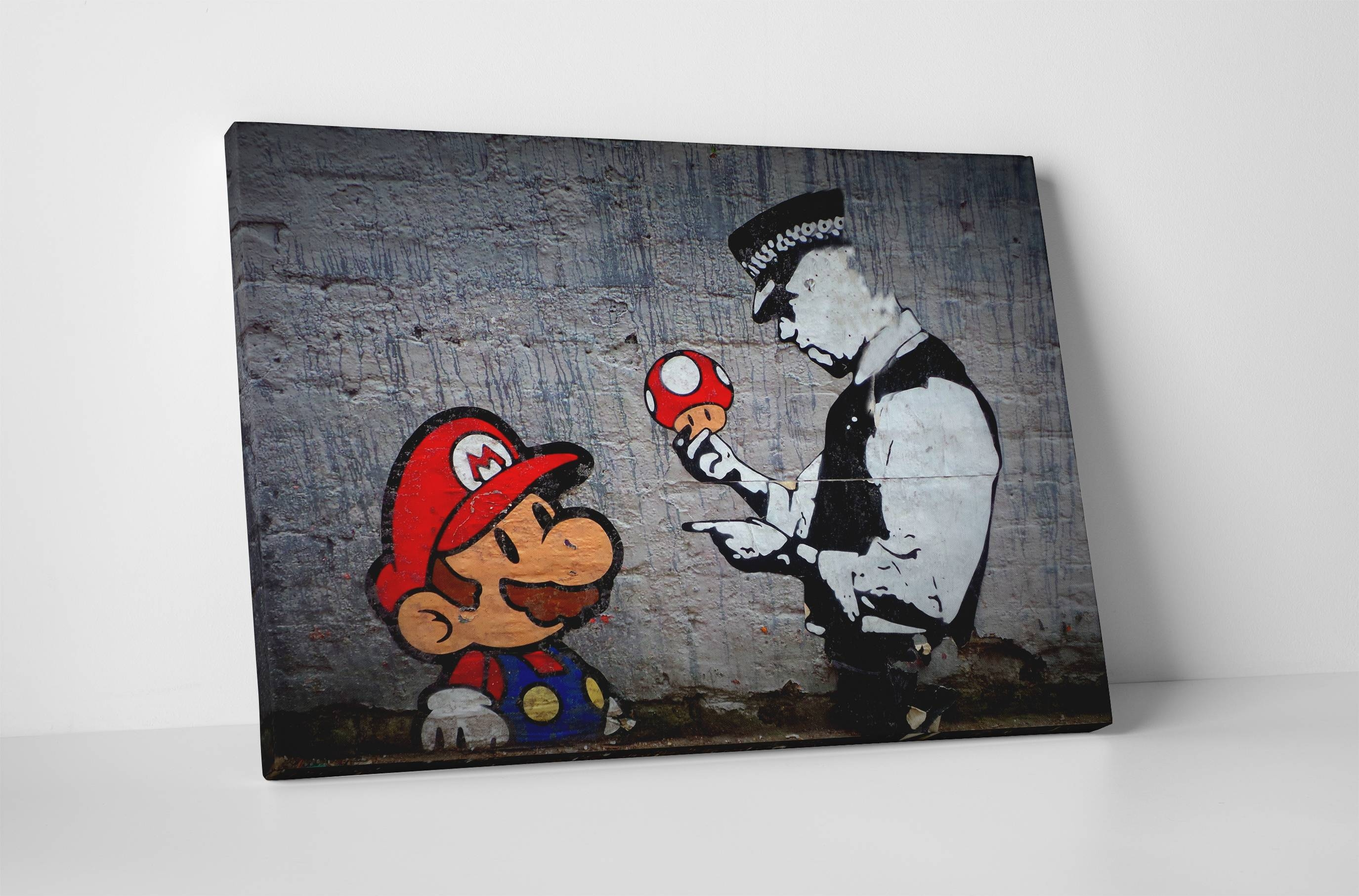 Banksy Mario Bros Mushroom Stretched Canvas Wall Art Pertaining To Newest Mushroom Wall Art (View 2 of 20)