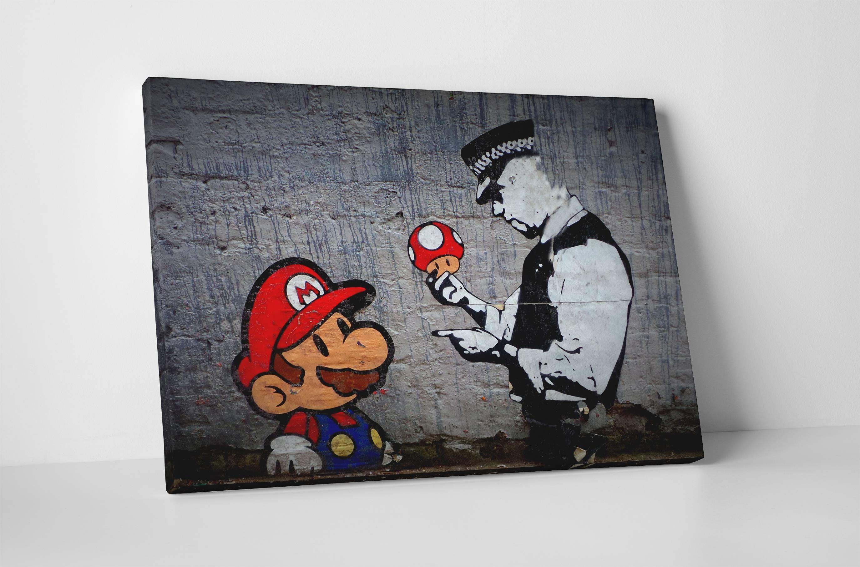 Banksy Mario Bros Mushroom Stretched Canvas Wall Art Pertaining To Newest Mushroom Wall Art (View 2 of 20)