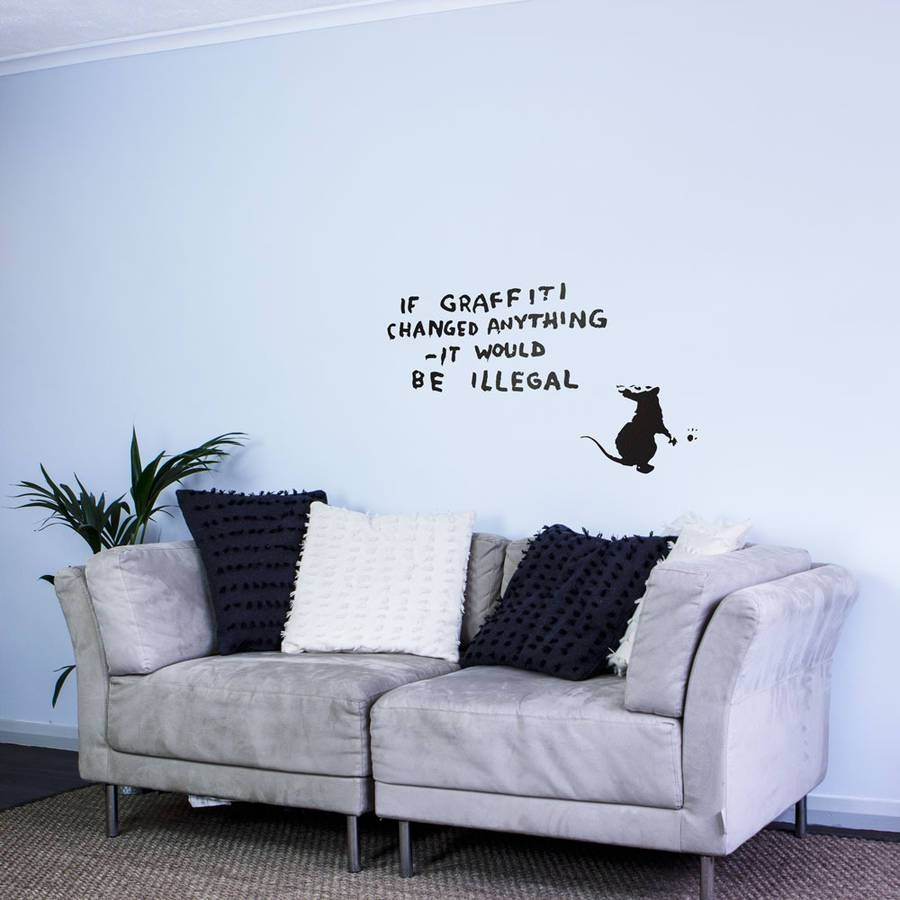 Banksy Rat Graffiti Writer Wall Art Decalvinyl Revolution In Newest Graffiti Wall Art Stickers (View 6 of 30)