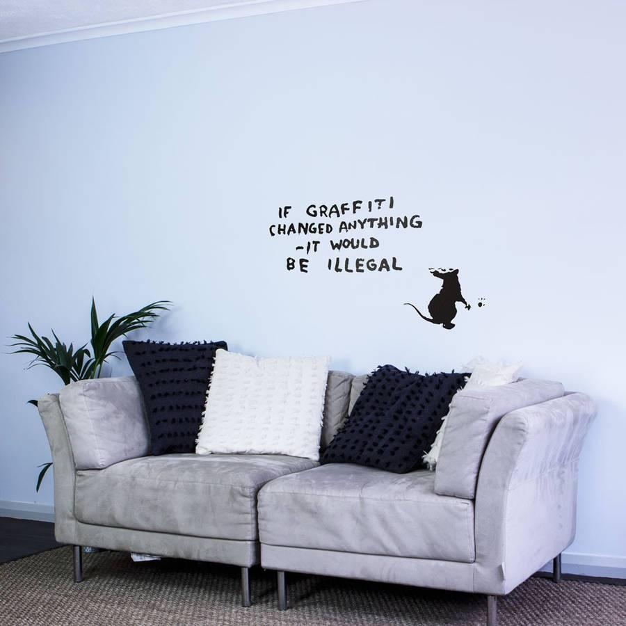 Banksy Rat Graffiti Writer Wall Art Decalvinyl Revolution In Newest Graffiti Wall Art Stickers (View 13 of 30)