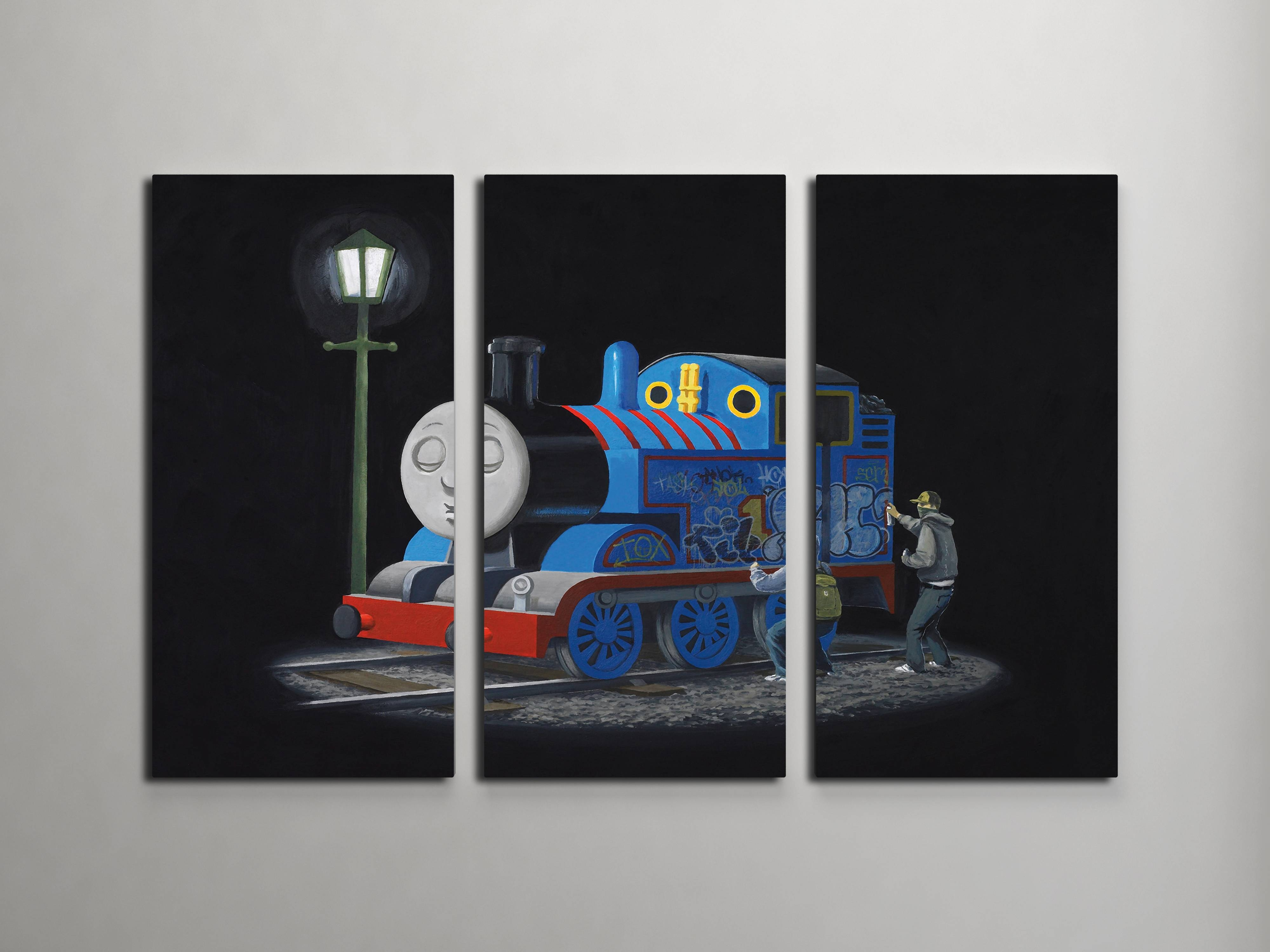 Banksy Sleeping Thomas The Tank Engine Triptych Canvas Wall Art In Most Up To Date Triptych Art For Sale (View 14 of 20)