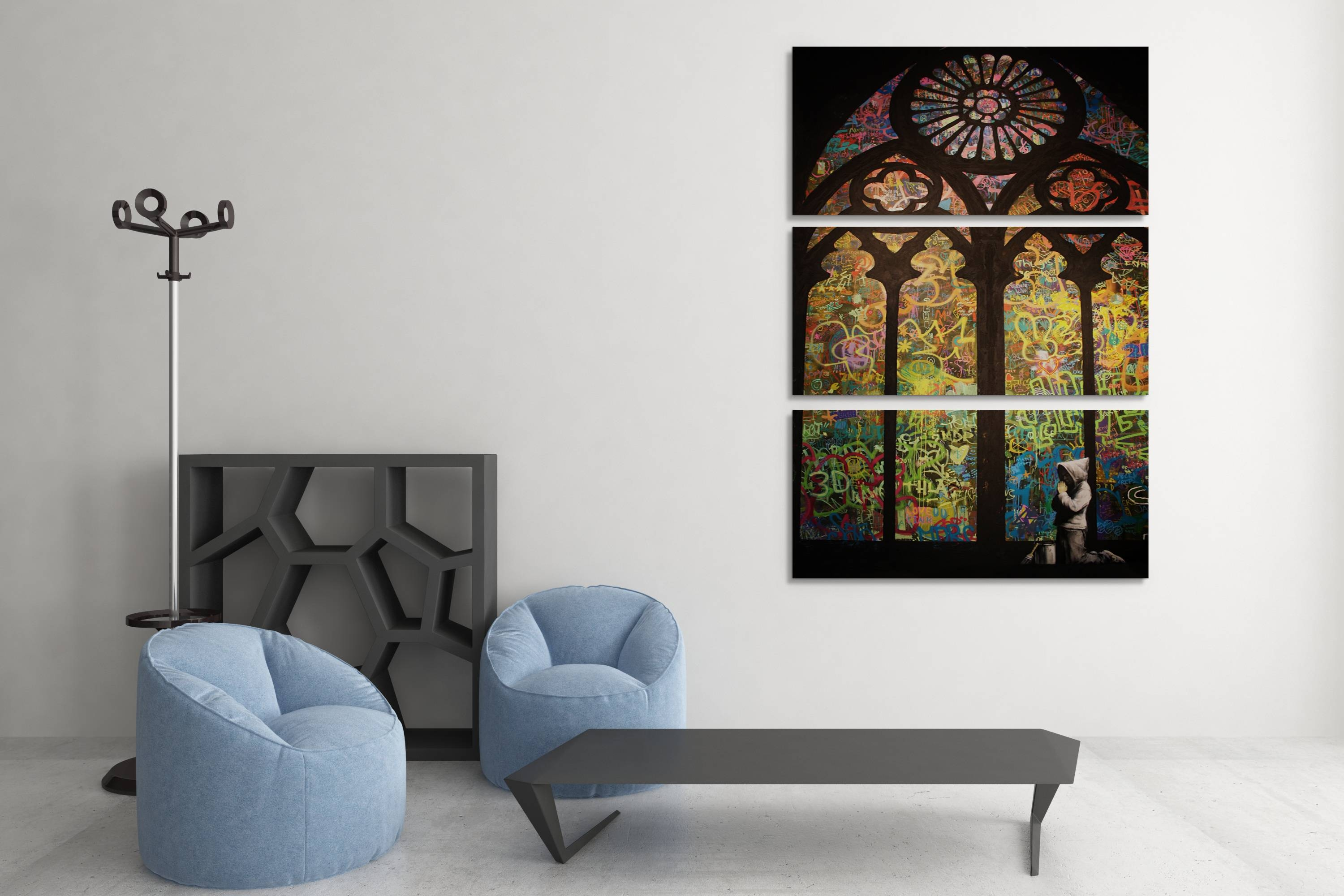 Banksy Stained Glass Cathedral Triptych Canvas Wall Art Inside Best And Newest 3D Glass Wall Art (View 9 of 20)