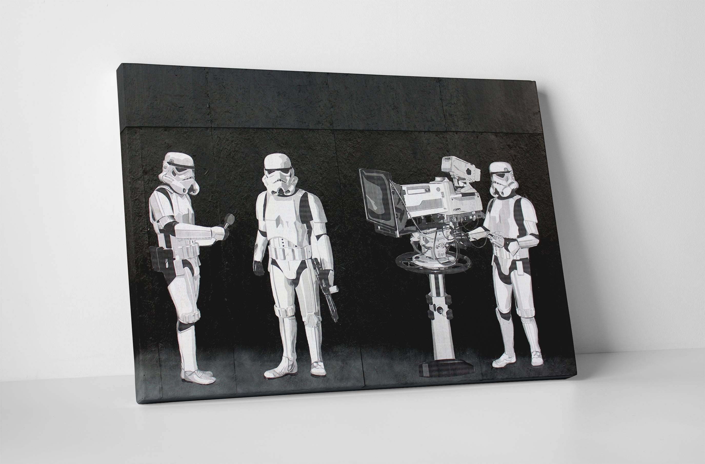Banksy Stormtroopers Filming Oscars Canvas Wall Art In Most Recently Released Banksy Wall Art Canvas (View 11 of 20)