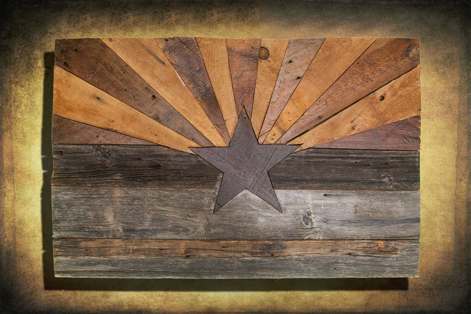 Barn Wood Arizona Flag, Handmade, Distressed Natural Wood, Vintage Pertaining To 2017 Natural Wood Wall Art (View 4 of 20)