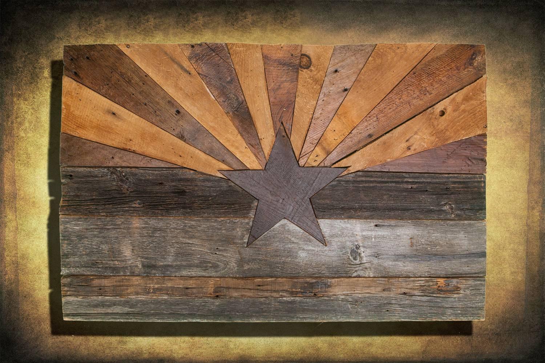 Barn Wood Arizona Flag, Handmade, Distressed Natural Wood, Vintage Pertaining To 2017 Natural Wood Wall Art (View 10 of 20)