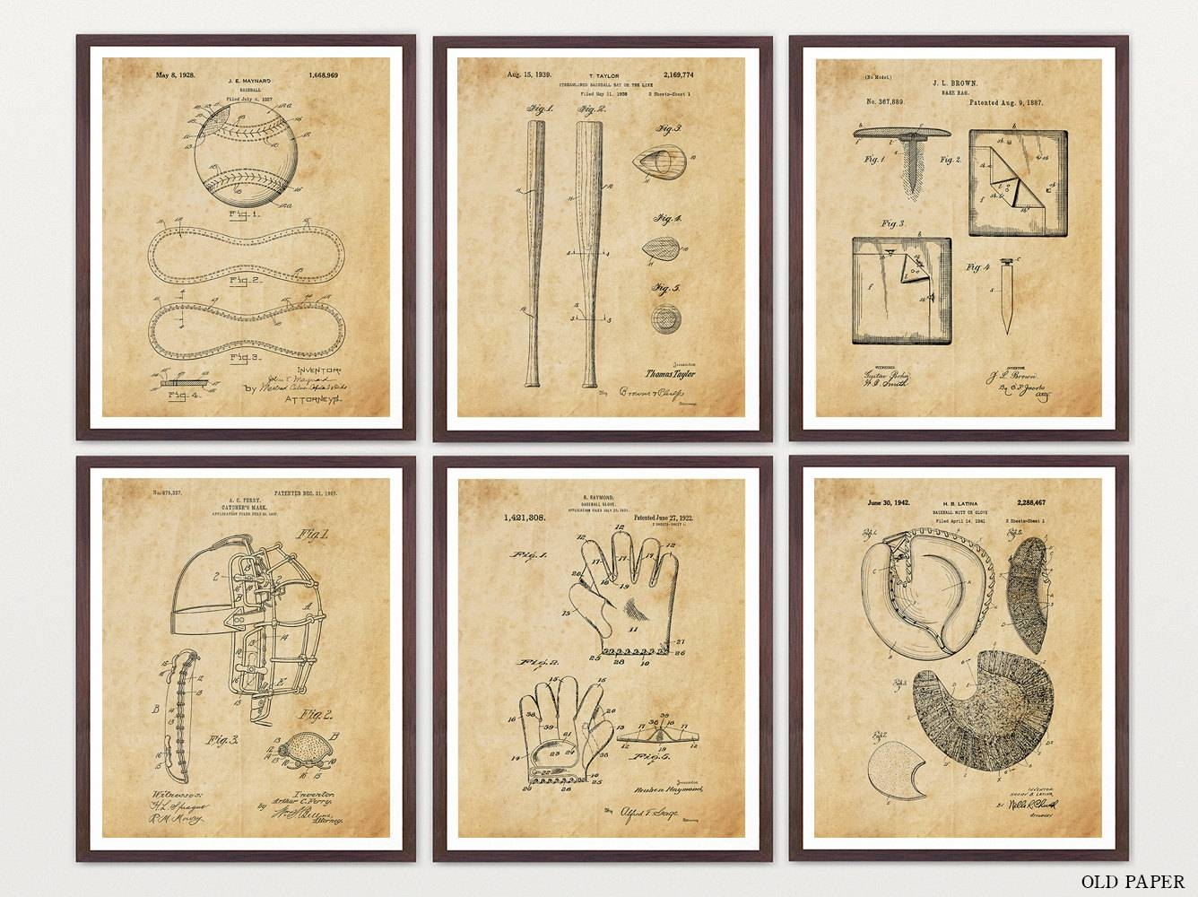 Baseball Patent Print Set Baseball Art Baseball Wall Art Regarding Best And Newest Vintage Baseball Wall Art (Gallery 21 of 30)