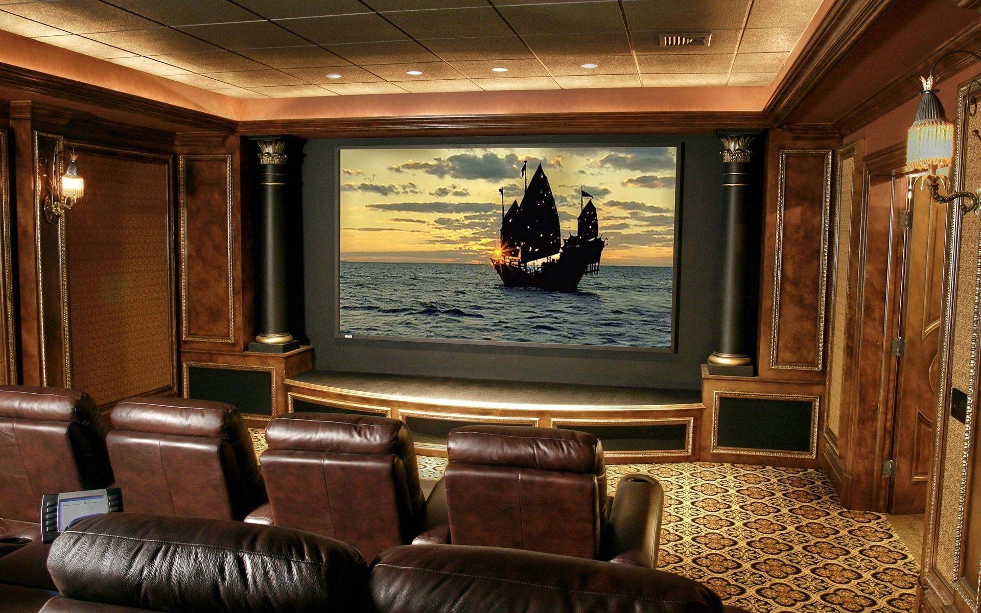 Basement Home Theater Plans Built In Wooden Shelves Movie Poster Intended For 2017 Home Theater Wall Art (View 2 of 30)