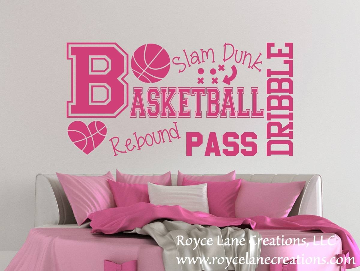Basketball Word Art Wall Decal B31 Sports Vinyl Wall Decal With 2017 Wall Art For Girls (View 5 of 20)
