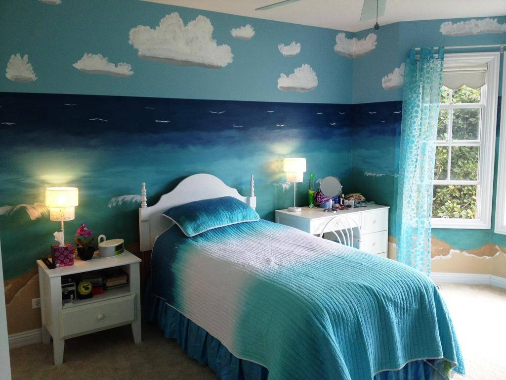 Bathroom Blue Beach Themed Bedrooms Mint Theme Rooms Ideas Of In Latest Beach Wall Art For Bedroom (View 3 of 20)