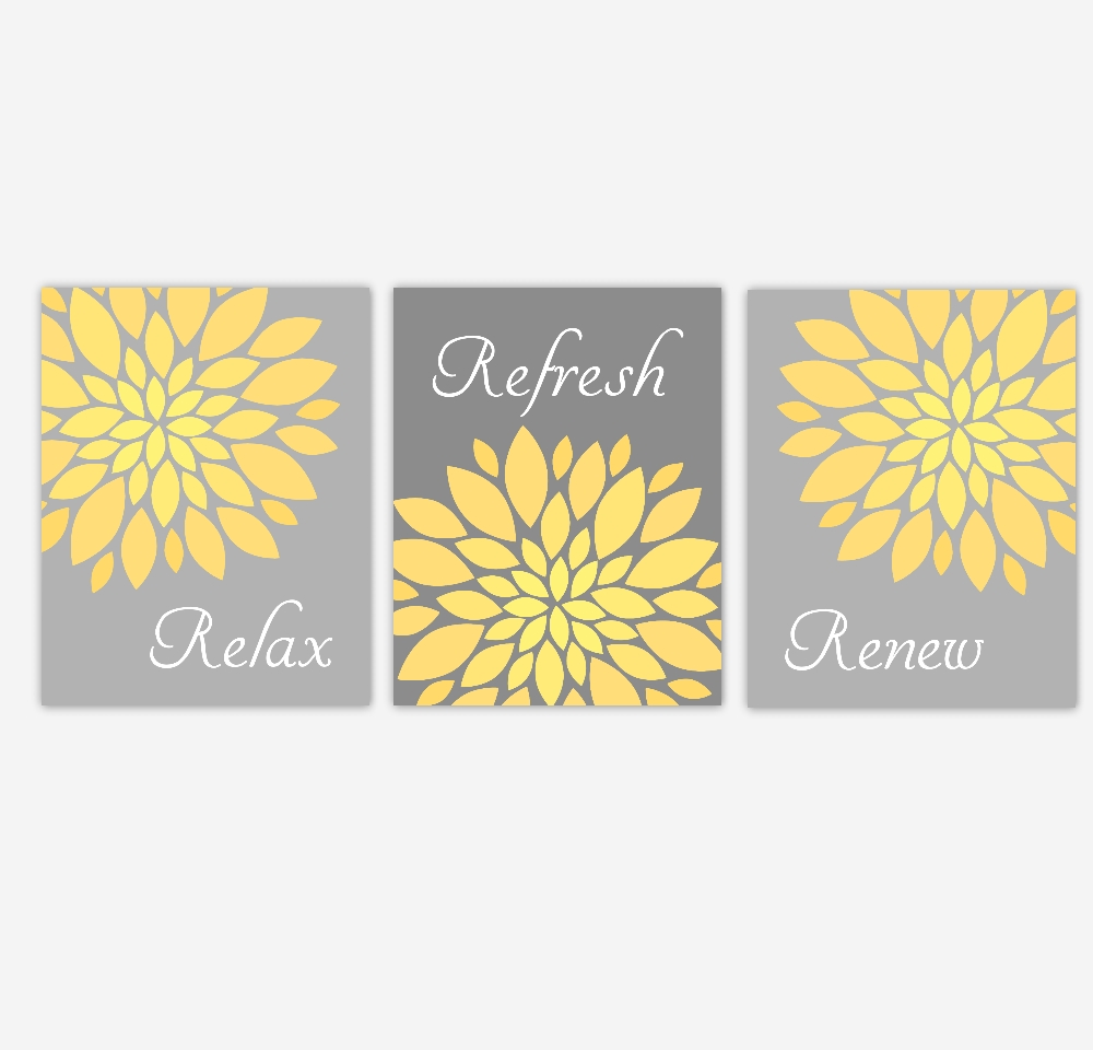 Bathroom Canvas Wall Art Yellow Gray Grey Relax Refresh Renew Pertaining To Recent Yellow And Grey Wall Art (View 11 of 25)