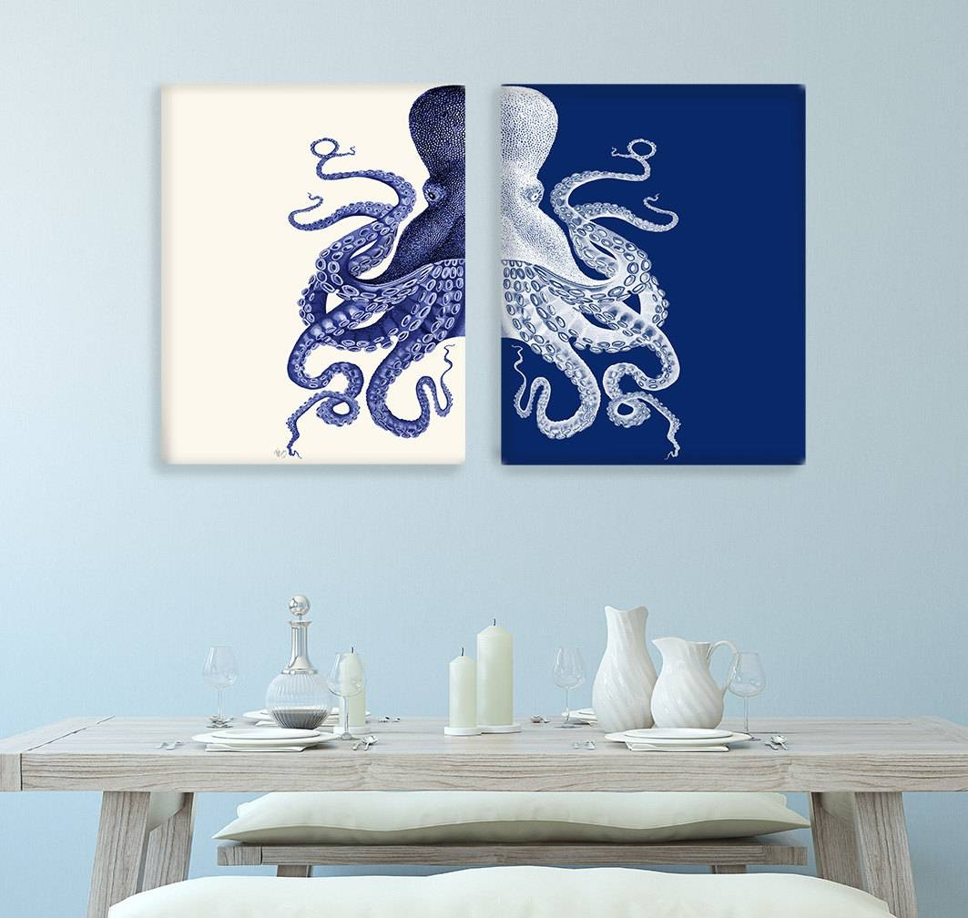 Bathroom Decor 2 Octopus Prints Navy Blue /cream Nautical Pertaining To Most Up To Date Blue And Cream Wall Art (View 11 of 20)