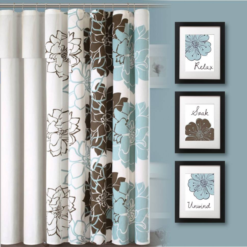 Bathroom Ideas : Blue And Brown Floral Print Bathroom Curtain In Most Current Matching Wall Art (View 13 of 20)