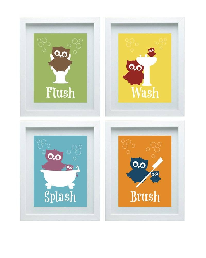 Bathroom Rules Art Kids Bathroom Decor Owl Wall Decor Set Of Pertaining To Newest Kids Bathroom Wall Art (View 2 of 20)