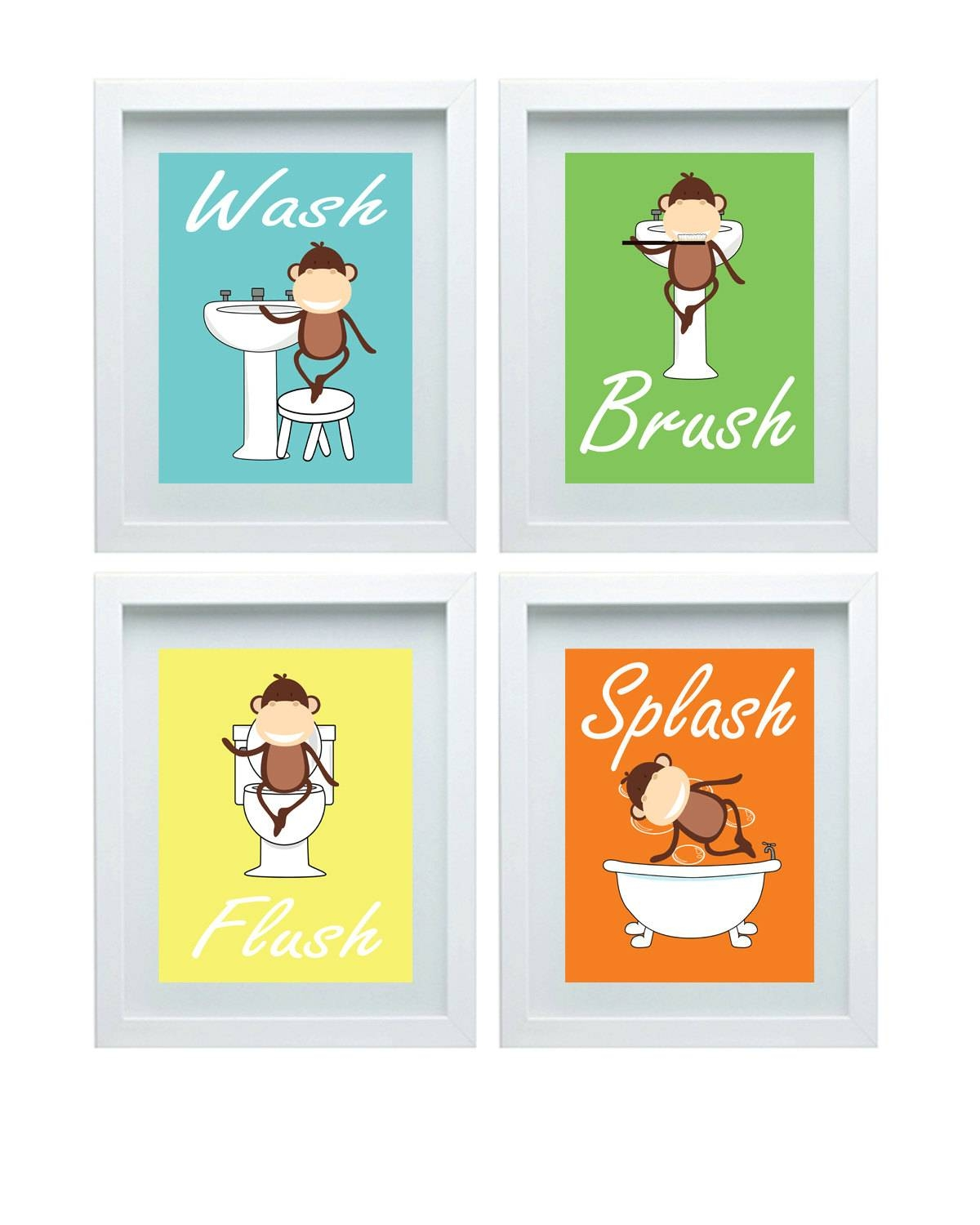 Bathroom Rules Kids Bathroom Art Kids Bathroom Decor Monkey With Most Popular Kids Bathroom Wall Art (View 3 of 20)