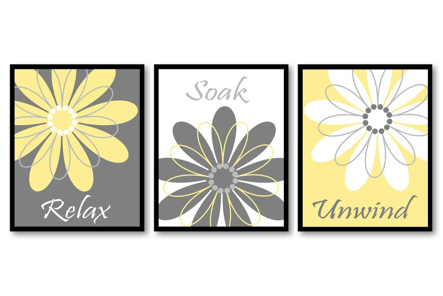 Bathroom Wall Art Yellow Grey Gray White Daisy Flower Print Within Most Recently Released Yellow Grey Wall Art (View 15 of 15)