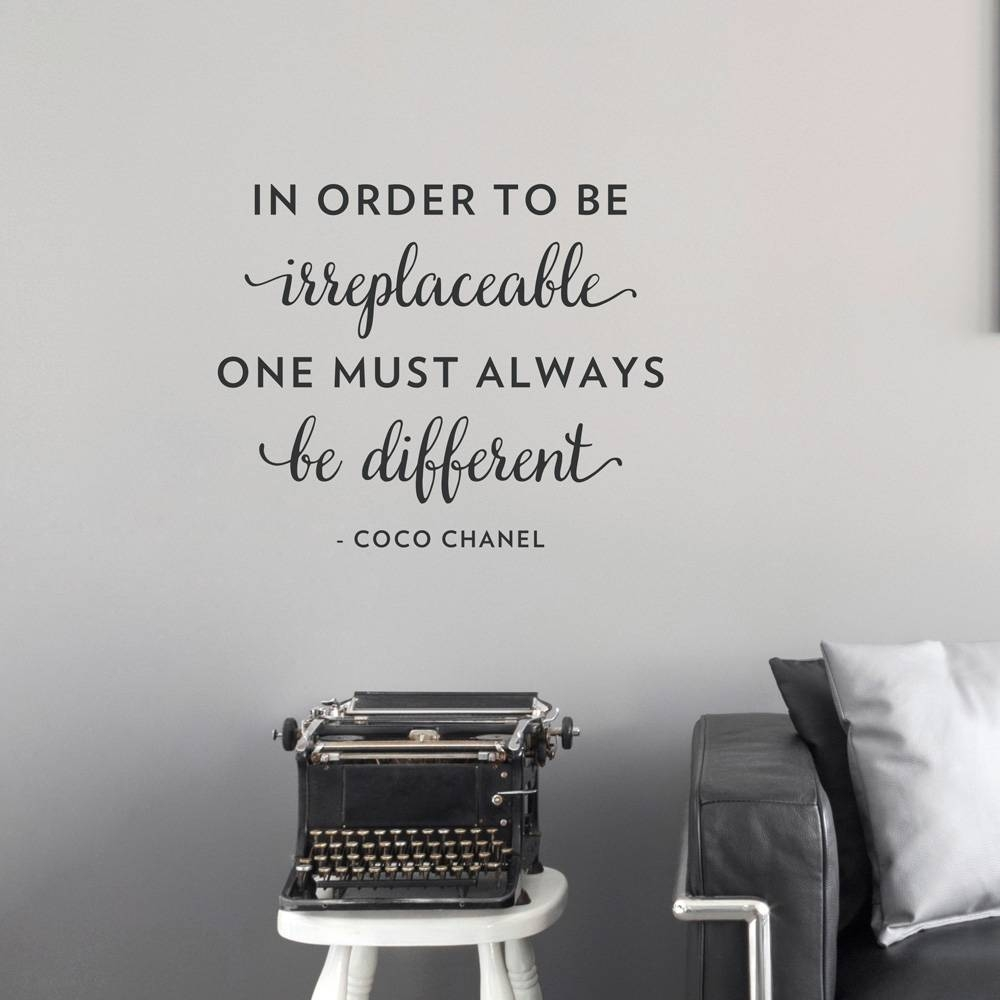 Be Different Chanel Wall Quote Decal Throughout 2017 Coco Chanel Wall Decals (View 1 of 25)