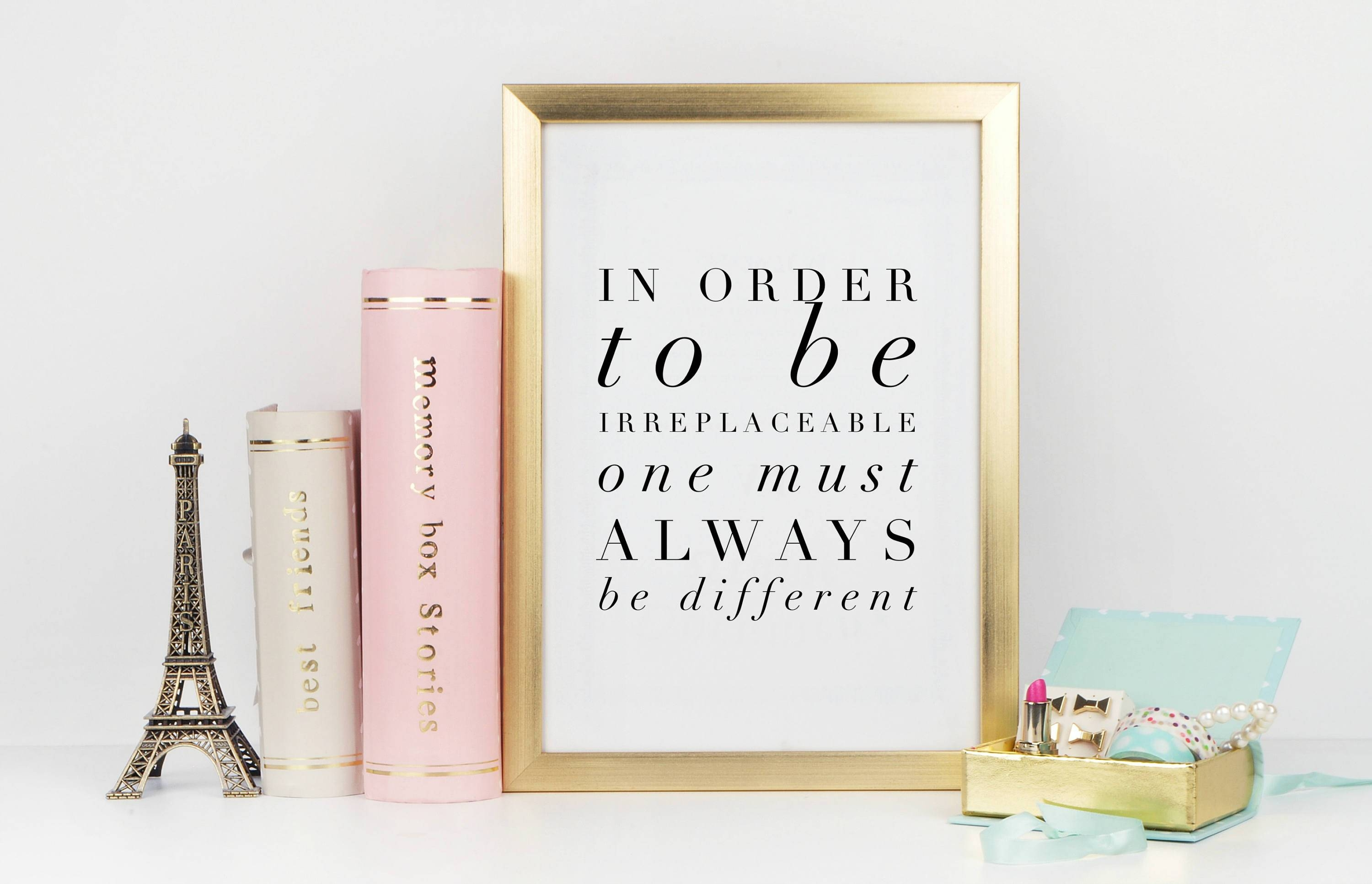 Be Irreplaceable – Coco Chanel Quote, High Fashion Wall Art, Home Within 2017 Chanel Wall Decor (View 23 of 25)