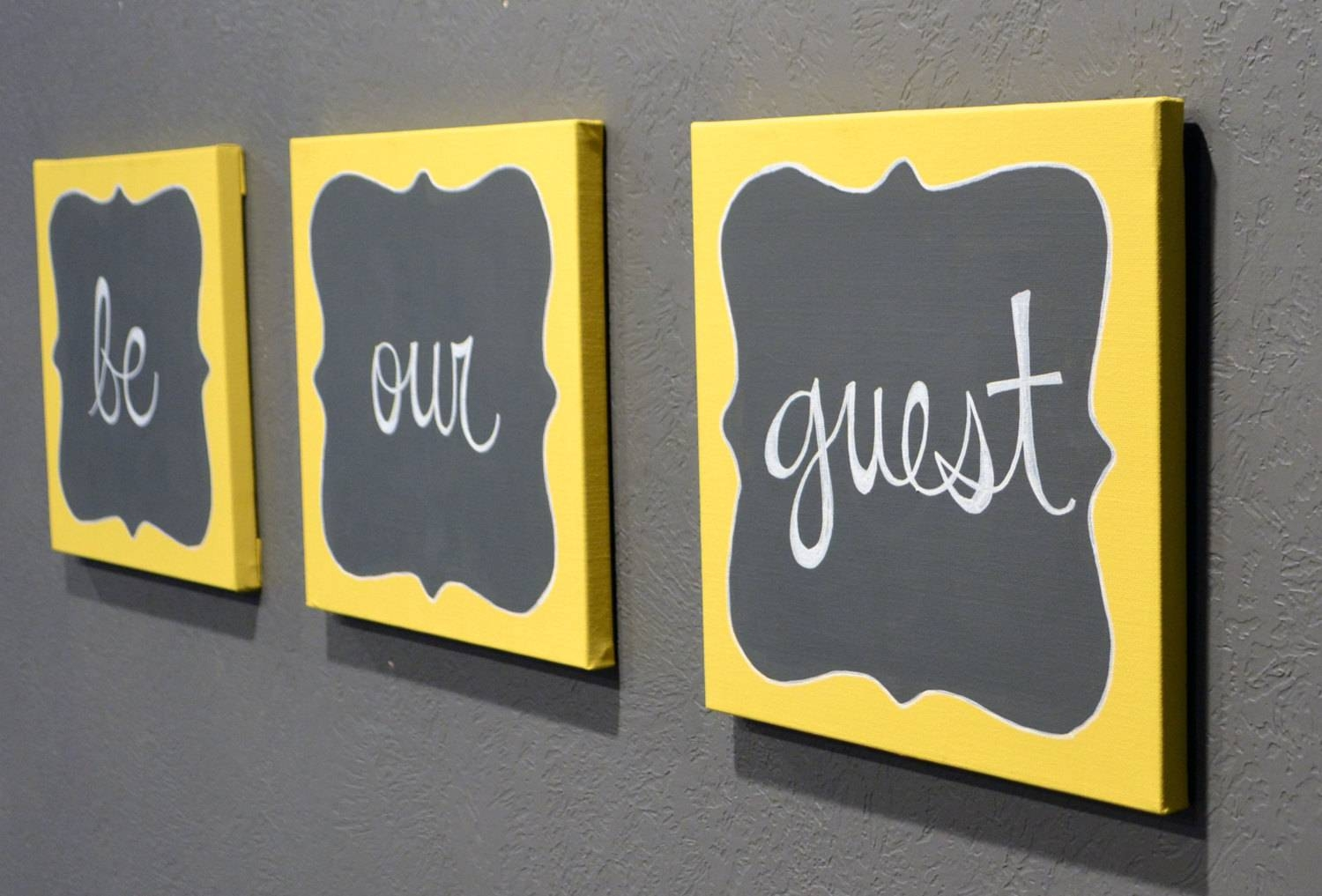 Be Our Guest Canvas Painting Set Guest Room Wall Art Wall Hanging Intended For Current Gray And Yellow Wall Art (View 9 of 20)