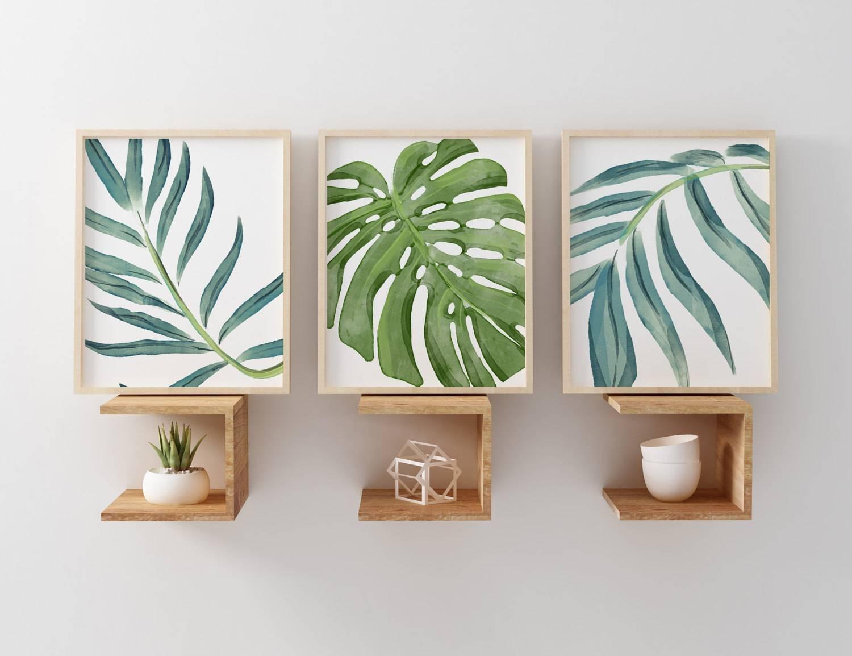 Beach Art Prints Watercolor Beach Nursery Art Tropical Palm Regarding Best And Newest Palm Leaf Wall Art (View 2 of 20)