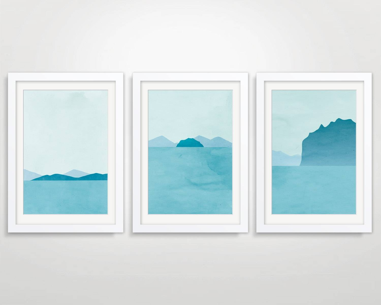 Beach Decor Large Wall Art Set Teal Blue Wall Art Art For Most Recently Released Modern Wall Art For Sale (View 3 of 20)