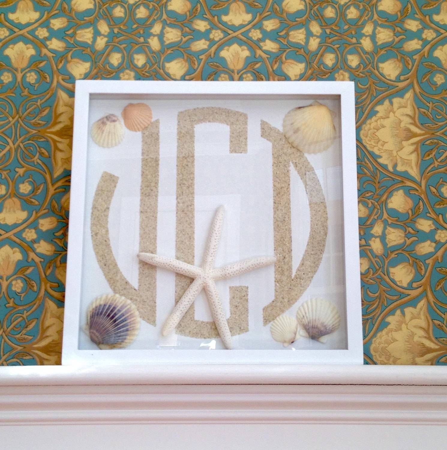 Beach Monogram, Framed Monogram, Monogram Wall Hanging, Beach With Most Popular Framed Monogram Wall Art (View 2 of 20)