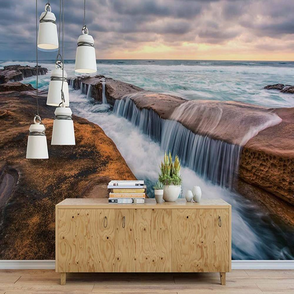 Beach Sea Waterfall Cloud Nature 3D Mural Wall Paper Living Room In Most Up To Date 3D Clouds Out Of Paper Wall Art (View 14 of 25)