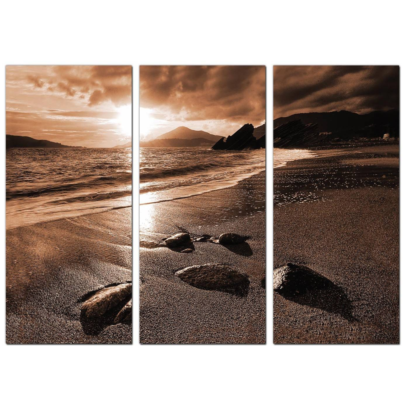 Beach Sunset Canvas Art Set Of 3 For Your Hallway Regarding 2018 3 Set Canvas Wall Art (View 4 of 20)