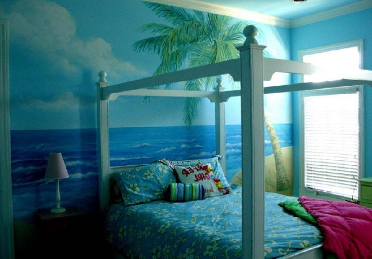 Beach Themed Bedroom Furniture Metal Cool Table Lamp Covered Bed For 2018 Beach Theme Wall Art (View 11 of 20)