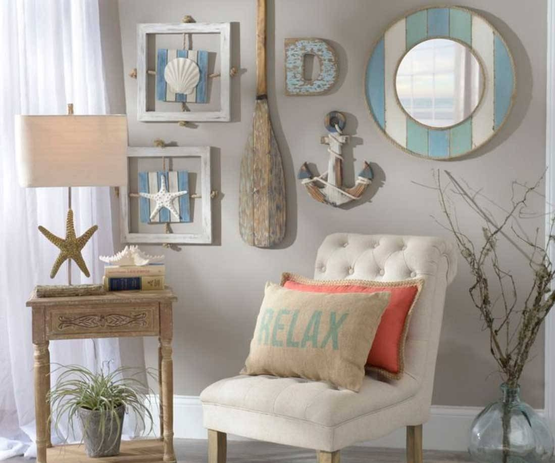 Beach Themed Wall Art Cottage Beach Nautical Collage | Home In Best And Newest Beach Theme Wall Art (View 9 of 20)