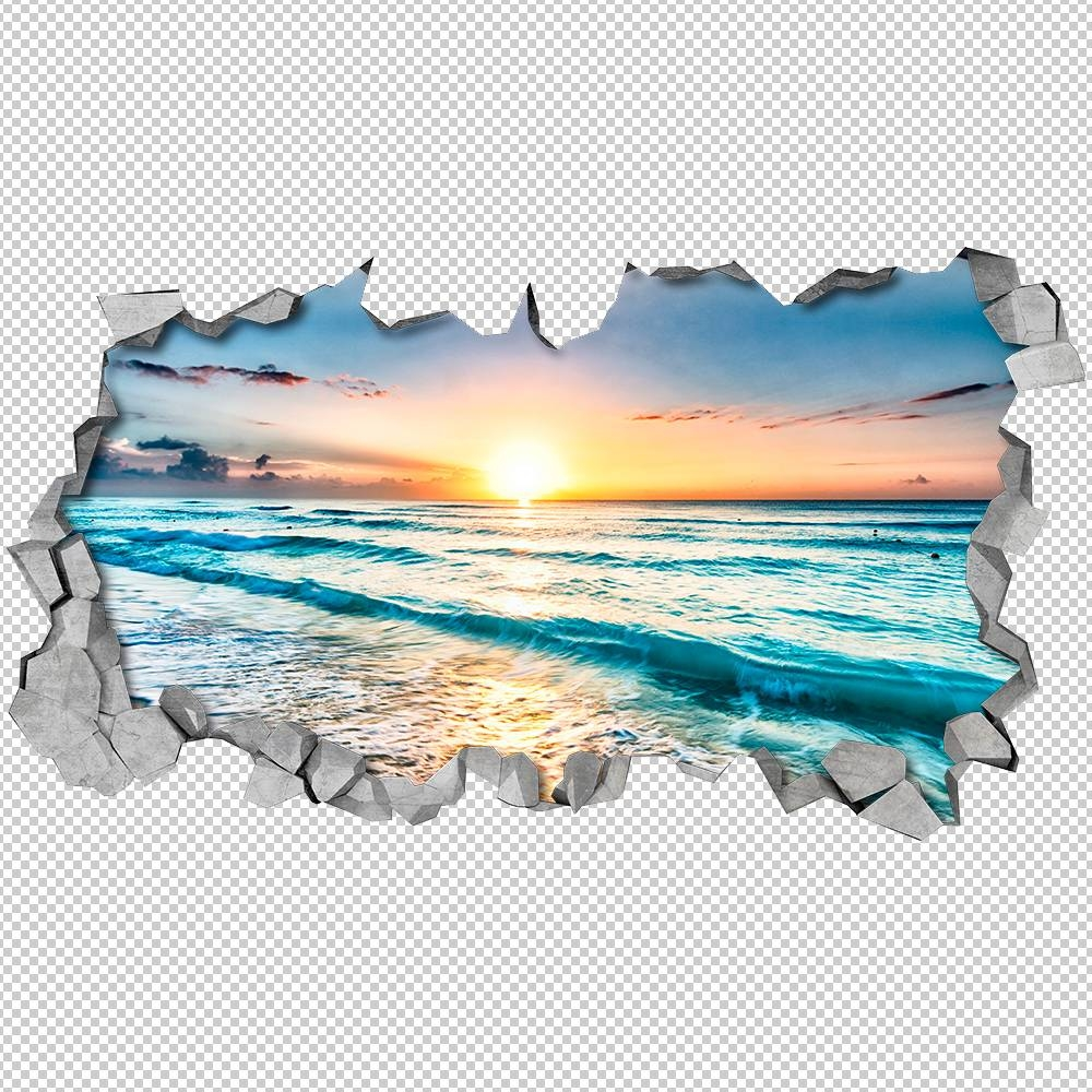 Beach View 3D Wall Art – Moonwallstickers With 2018 Waves 3D Wall Art (View 2 of 20)