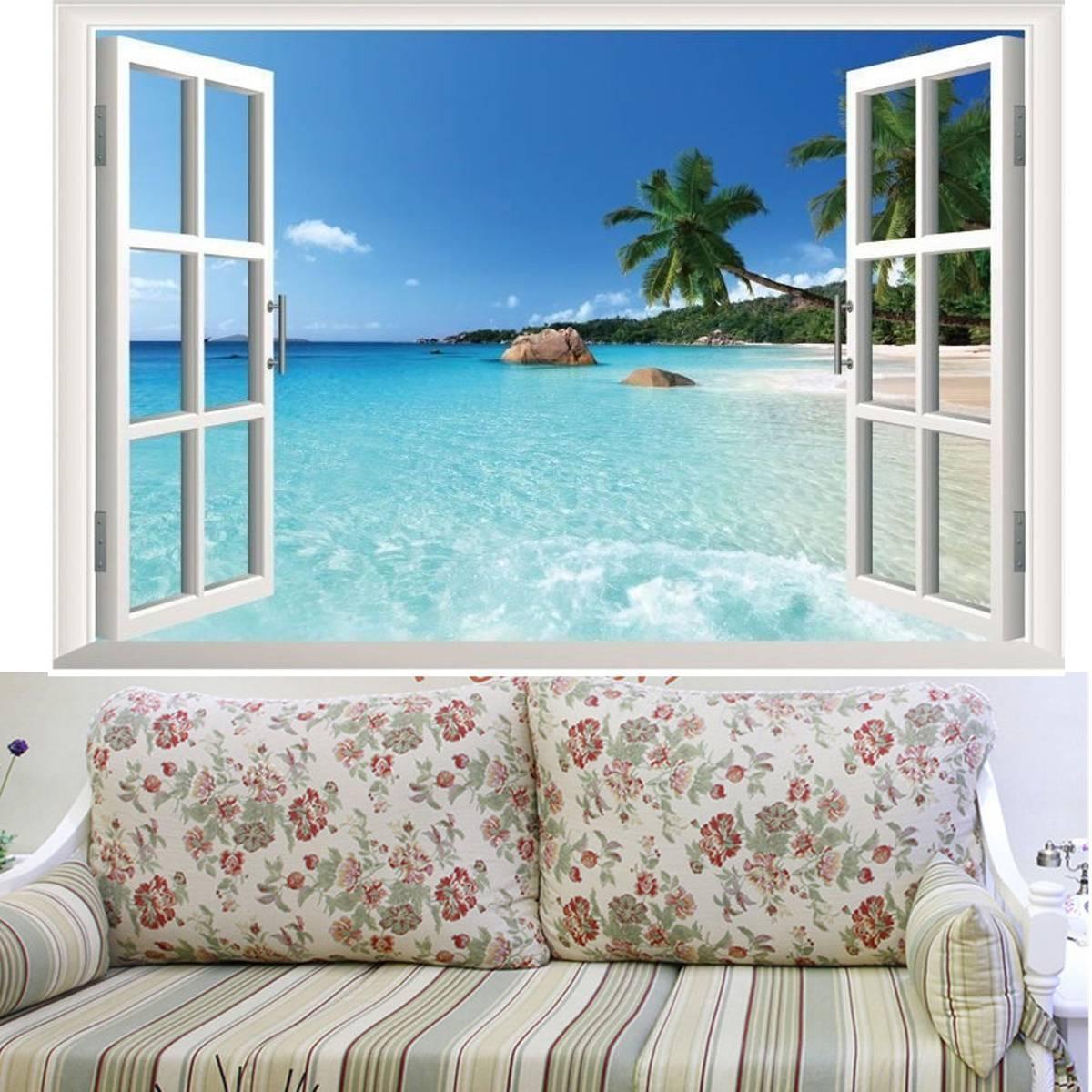 Beach Window View Scenery 3D Wall Stickers Vinyl Art Mural Decal Throughout 2018 Beach 3D Wall Art (View 19 of 20)