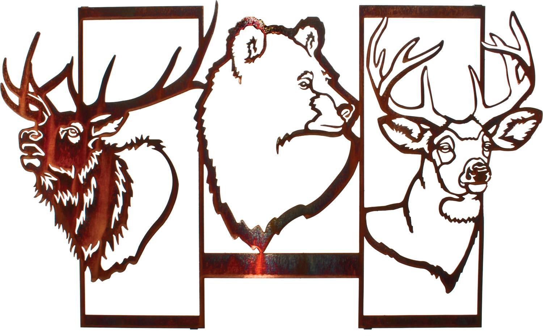 Bear Wall Art, Bear Wall Hangings, Metal Wall Sculptures Regarding 2018 Lazart Metal Art (View 14 of 30)