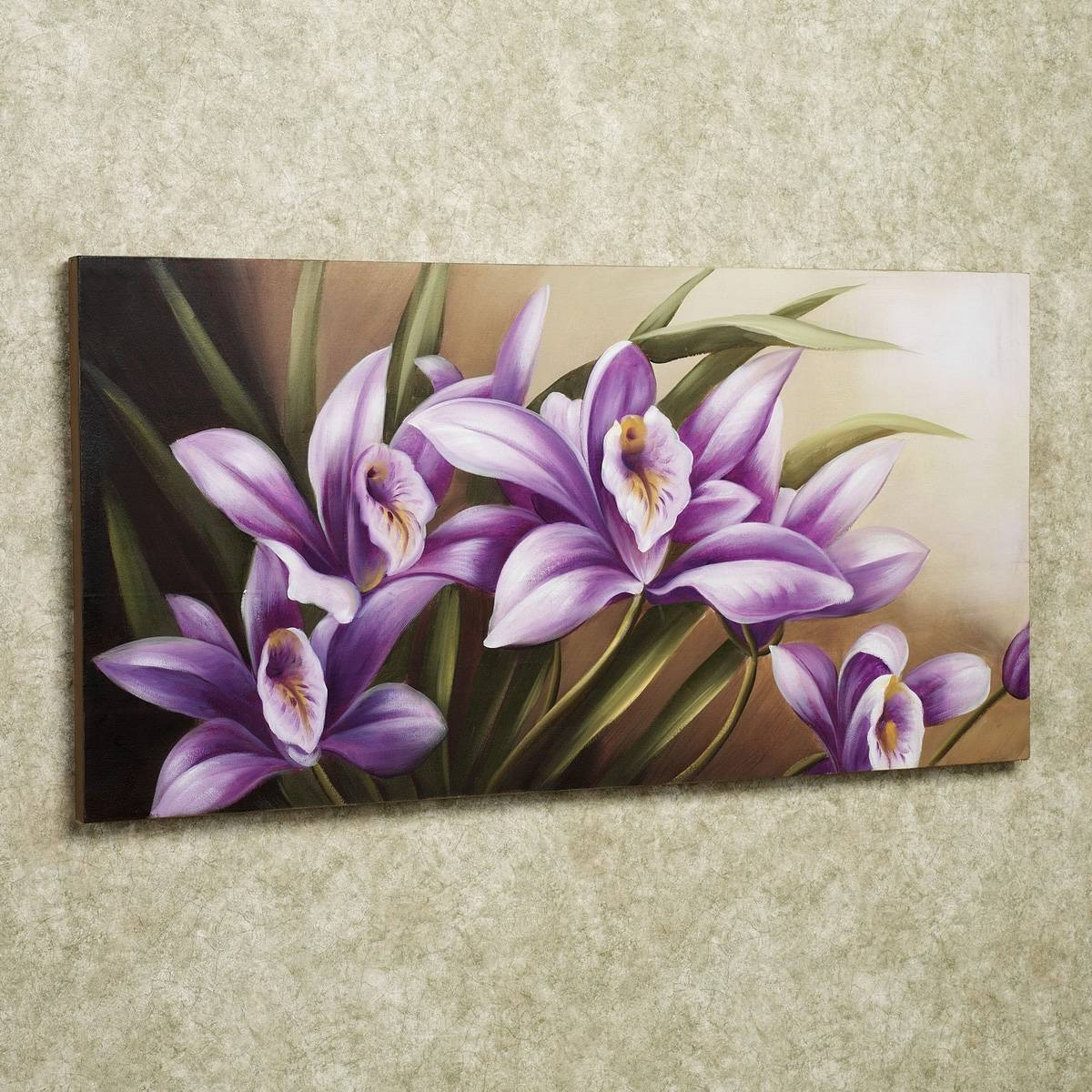 Beautiful Flower Painting On Simple Square Frame With Cute Purple For Most Current Flower Wall Art Canvas (View 3 of 20)