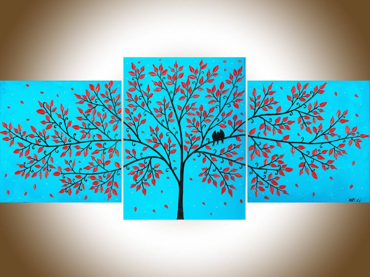 """Beautiful Lifeqiqigallery 36""""x16"""" Original Tree And Love Birds Throughout Most Up To Date Turquoise And Black Wall Art (View 1 of 20)"""